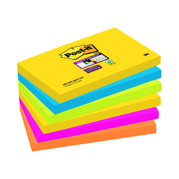 Super Sticky Post-it Notes Super Sticky 76 x 127mm Rio (6 Pack) 70-0052-5132-0