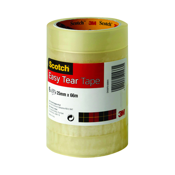 24/25mm Scotch Easy Tear Clear Tape 24mm x 66m (6 Pack) ET2566T6