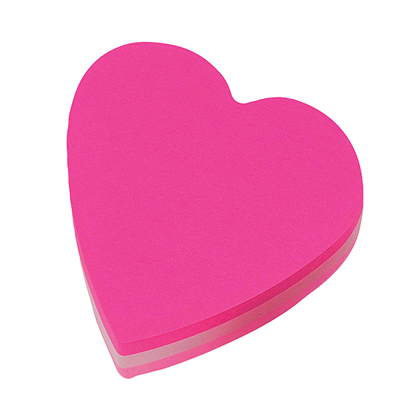 Shapes & Cubes Post-it Notes 70 x 70mm Heart Pink (12 Pack) 2007H