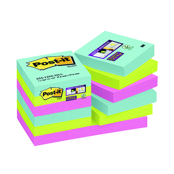 Super Sticky Post-it Notes Super Sticky 47.6 x 47.6mm Miami (12 Pack) 622-12SS-MIA