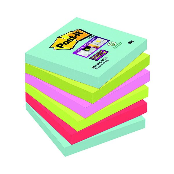 Super Sticky Post-it Super Sticky Notes 76x76mm Miami (6 Pack) 654-6SS-MIA