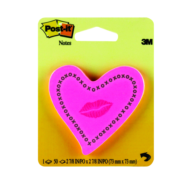 Shapes & Cubes Post-it Notes Heards with Neon Lips Pink 50 Sheets 6370-HTL