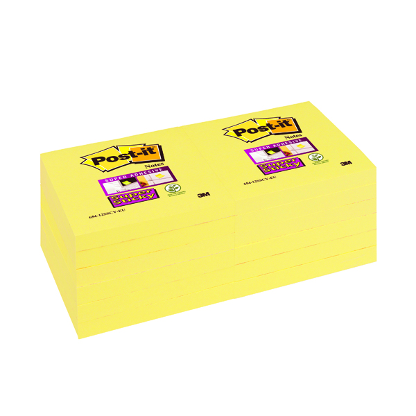 Yellow Standard Sizes Post-it Notes Super Sticky 76 x 76mm Canary Yellow (12 Pack) 654-12SSCY