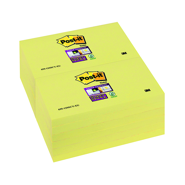Yellow Standard Sizes Post-it Notes Super Sticky 76 x 127mm Canary Yellow (12 Pack) 655-12SSCY