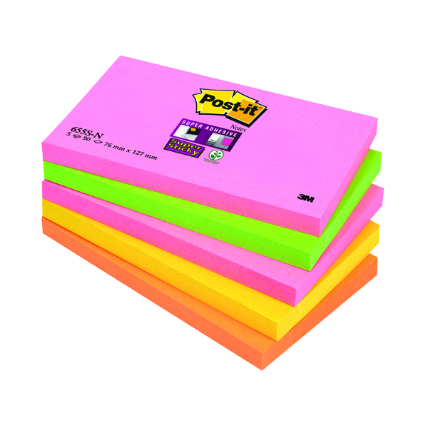 Post-it Notes Super Sticky 76 x 127mm Cape Town (5 Pack) 655-SN