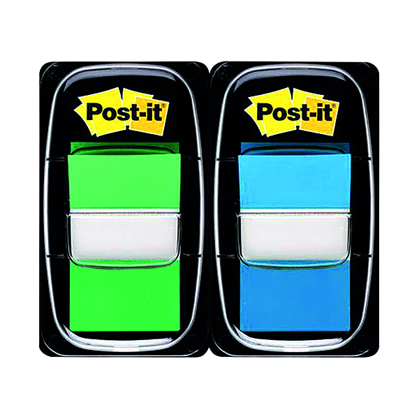 Post-it Index Tabs Green and Blue (100 Pack) 680-GB2