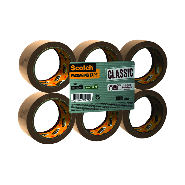 Scotch Buff Packaging Tape Polypropylene 50mm x 66m (6 Pack) C5066SF6