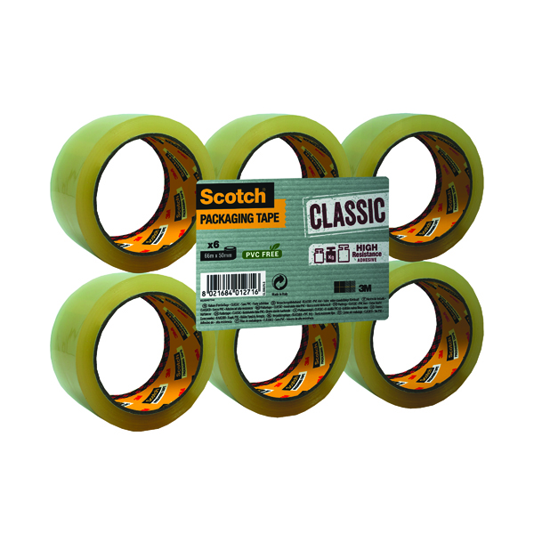 Scotch Clear Packaging Tape Polypropylene 50mm x 66m (6 Pack) C5066SF6
