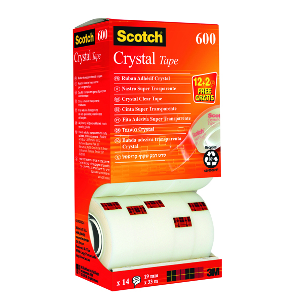 24/25mm Scotch Crystal Tape 19mm x 33m (14 Pack) CRYSTAL14VP