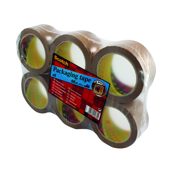 36/50mm Scotch Packaging Tape Heavy 50mmx66m Brown (6 Pack) PVC5066F6 B