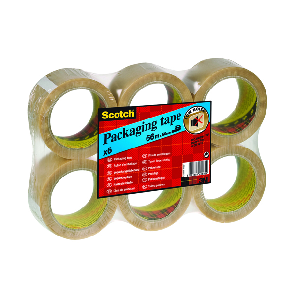 36/50mm Scotch Packaging Tape Heavy 50mmx66m Clear (6 Pack) PVC5066F6 T