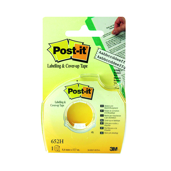 Post-it Cover Up and Labelling Tape 8.4mm 652H