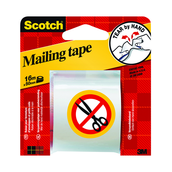 36/50mm Scotch Clear Hand Tearable Packaging Tape 50mm x 16m E5106C