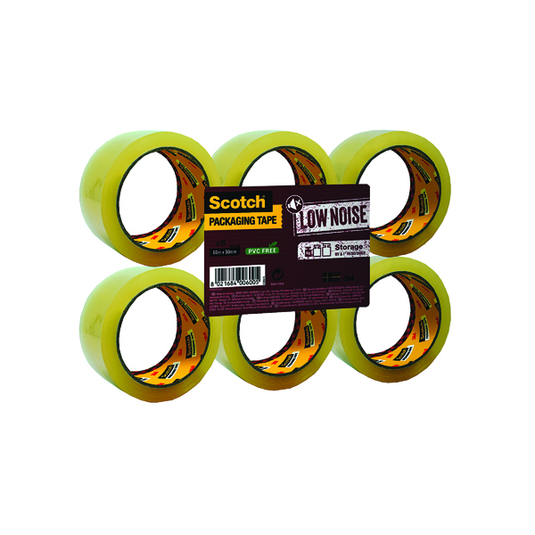 Scotch Packaging Tape Low Noise 48mmx66m Clear (6 Pack) 3707