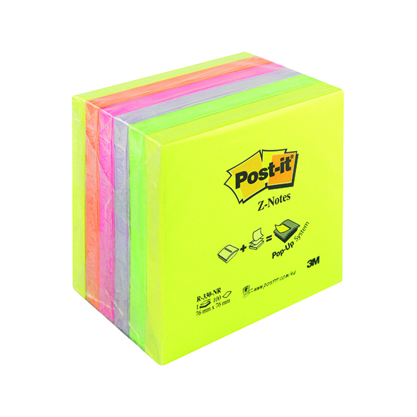 Z Notes Post-it Z-Notes 76x76mm Neon Rainbow (6 Pack) R330NR