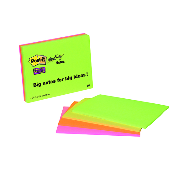 Post-it Super Sticky Meeting Notes 200x149mm Neon Assorted (4 Pack) 6845-SSP