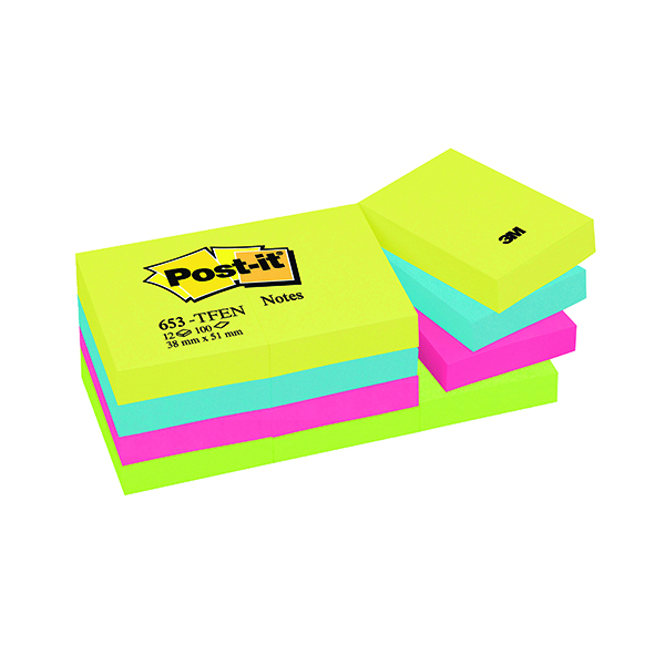 Colour Standard Sizes Post-it Notes 38 x 51mm Energy Colours (12 Pack) 653TF
