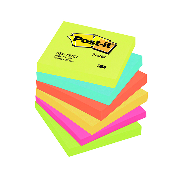 Colour Standard Sizes Post-it Notes 76 x 76mm Energy Colours (6 Pack) 654TF