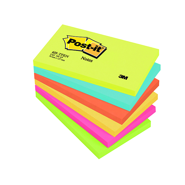 Colour Standard Sizes Post-it Notes 76 x 127mm Energy Colours (6 Pack) 655TF