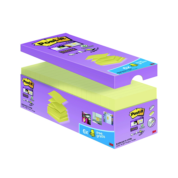 Z Notes Post-it Notes Super Sticky 76 x 76mm Z-Notes Canary Yellow (20 Pack) R330-SSCY-VP20