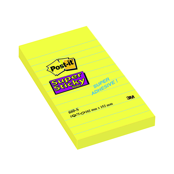 Super Sticky Post-it Notes Super Sticky 152 x 102mm Lined Ultra Yellow (6 Pack) 660S