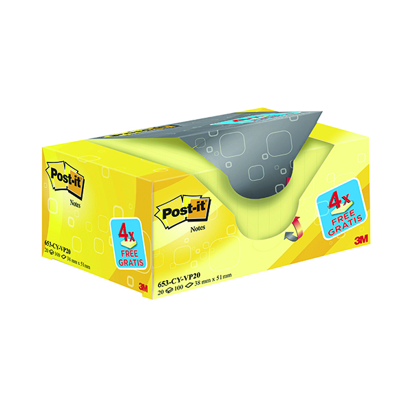 Yellow Standard Sizes Post-it Notes 38 x 51mm Canary Yellow (20 Pack) 653CY-VP20