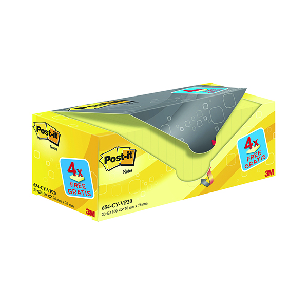 Yellow Standard Sizes Post-it Notes 76 x 76mm Canary Yellow (20 Pack) 654CY-VP20