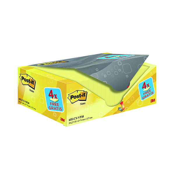 Yellow Standard Sizes Post-it Notes 76 x 127mm Canary Yellow (20 Pack) 655CY-VP20