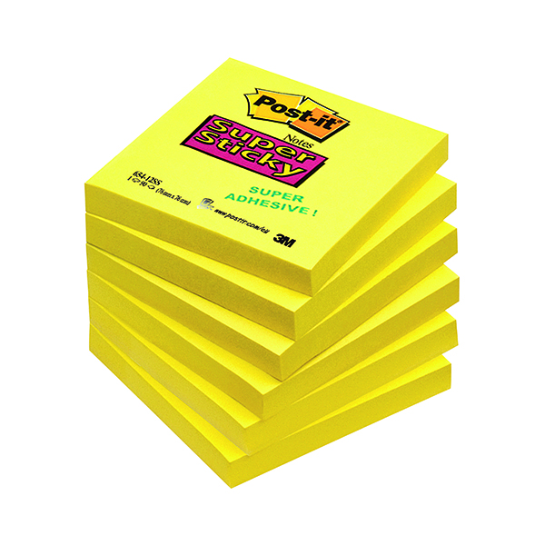 Post-it Notes Super Sticky 76x76mm Ultra Yellow 90 Sheets (6 Pack) 654-S6