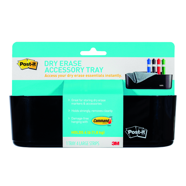 Unspecified Post-it Dry Erase Black Accessory Tray with 4 Large Command Strips DEFTRAY-EU