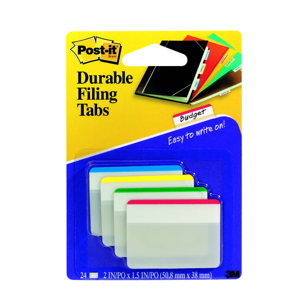 Post-it Index Flat Filing Tabs Assorted (24 Pack) 686-F1