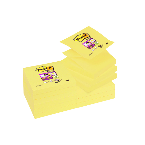 Post-it Notes Super Sticky 76 x 76mm Z-Notes Canary Yellow (12 Pack) R330-12SSCY