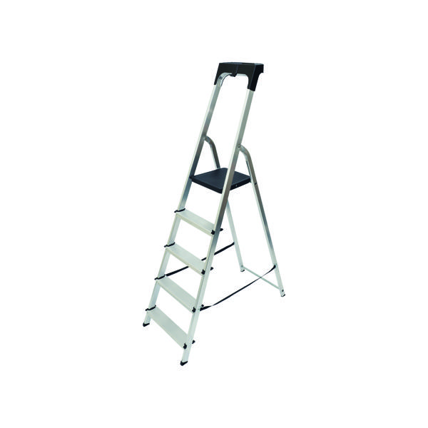 Steps Werner Aluminium High Handrail 5 Tread Step Ladder 7410518