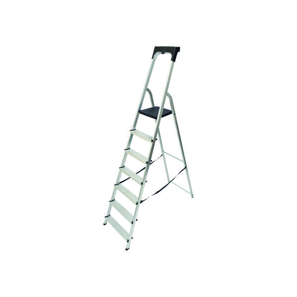 Steps Werner Aluminium High Handrail 7 Tread Step Ladder 7410718