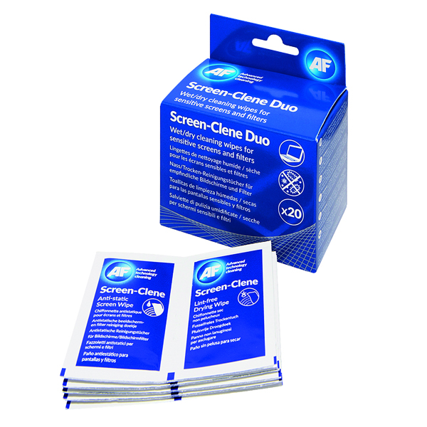 AF Screen-Clene Duo Wet/Dry Wipes (20 Pack) ASCR020