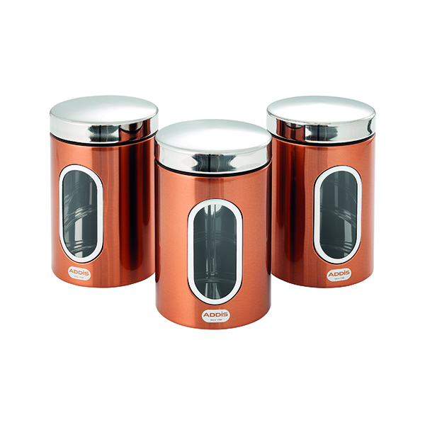 Accessories Addis Copper Finish Canisters 155 x 343 x 185mm (3 Pack) 515717