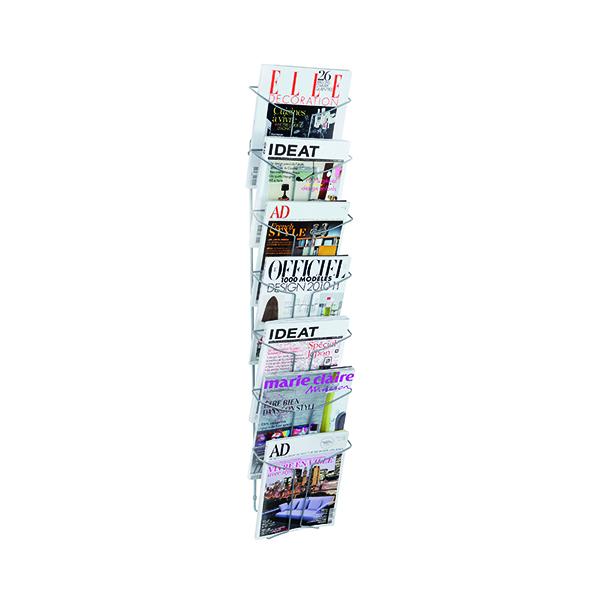 Literature Holders Alba Wall Mounted 7 Pocket Literature Holder A4 Chrome DD7M