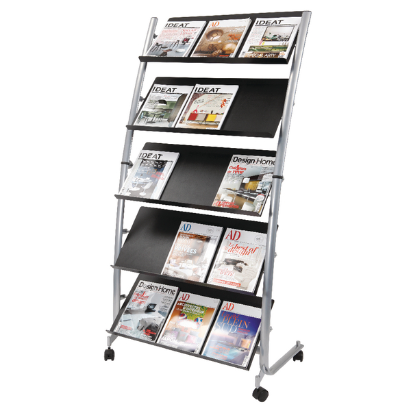 Literature Holders Alba 5 Shelf Single Sided Mobile Literature Display Stand 3 x A4 DD5GM