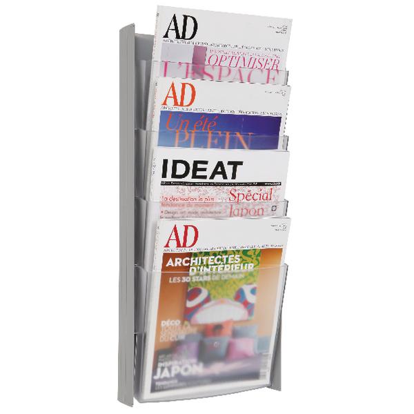 Literature Holders Alba Wall Display Unit 4 Pocket A4 Metallic DDPROGMM