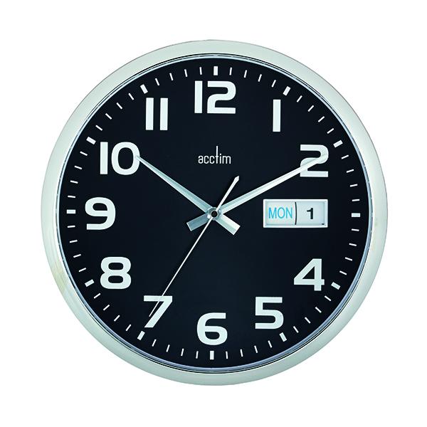 Wall Acctim Supervisor Wall Clock 320mm Chrome/Black 21023