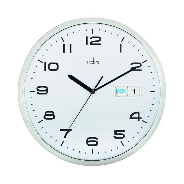 Wall Acctim Supervisor Wall Clock 320mm Chrome/White 21027
