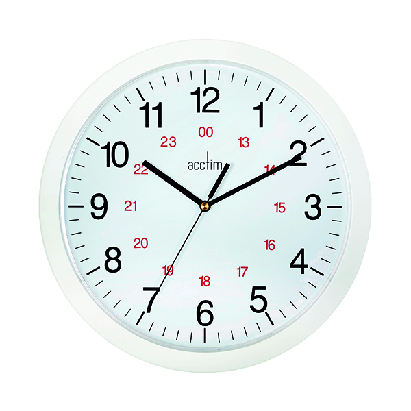 Wall Acctim Metro 24 Hour Plastic Wall Clock 300mm White 21162
