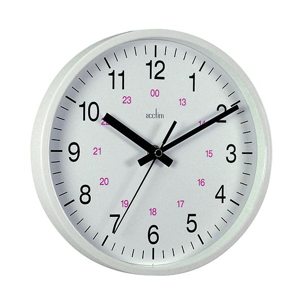 Wall Acctim Metro 24 Hour Plastic Wall Clock 355mm White 21202