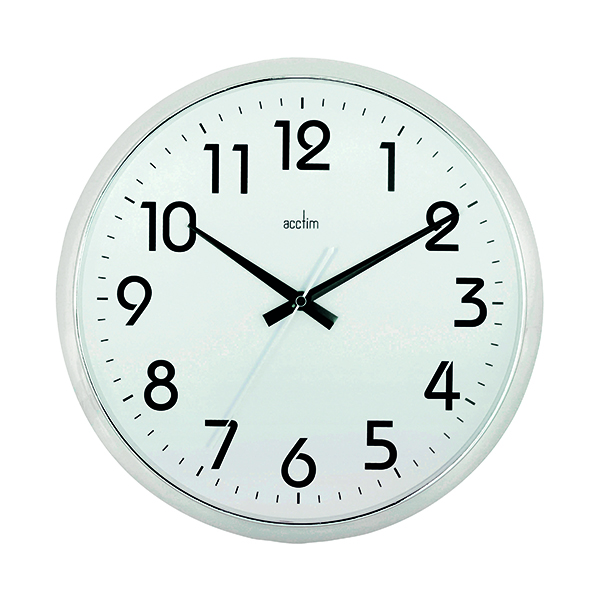 Wall Acctim Orion Silent Sweep Wall Clock 320mm Chrome/White 21287
