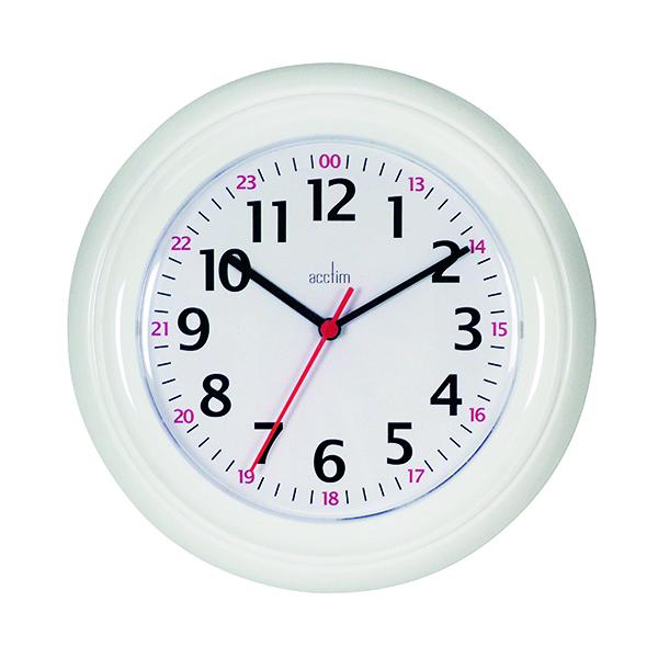 Wall Acctim Wexham 24 Hour Plastic Wall Clock White 21862