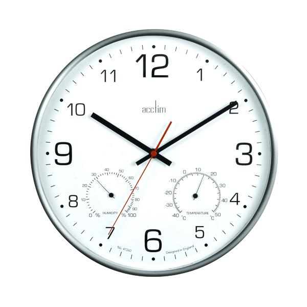 Wall Acctim Komfort 30.5cm Metal Thermo Hygro Wall Clock 29147