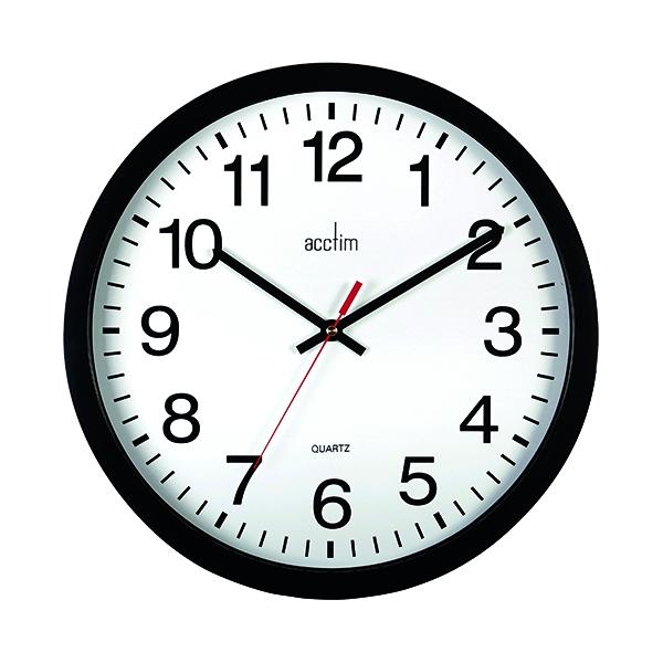 Wall Acctim Controller Silent Sweep Wall Clock 368mm Black 93/704B