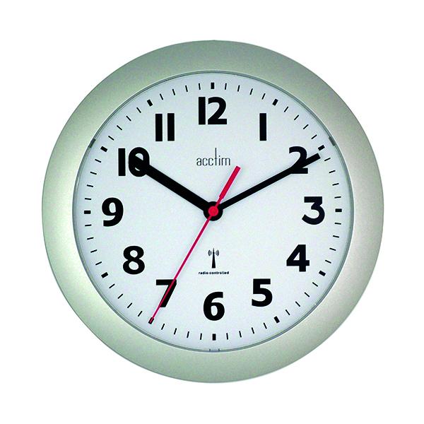 Wall Acctim Parona Radio Controlled Plastic Wall Clock Silver 74317