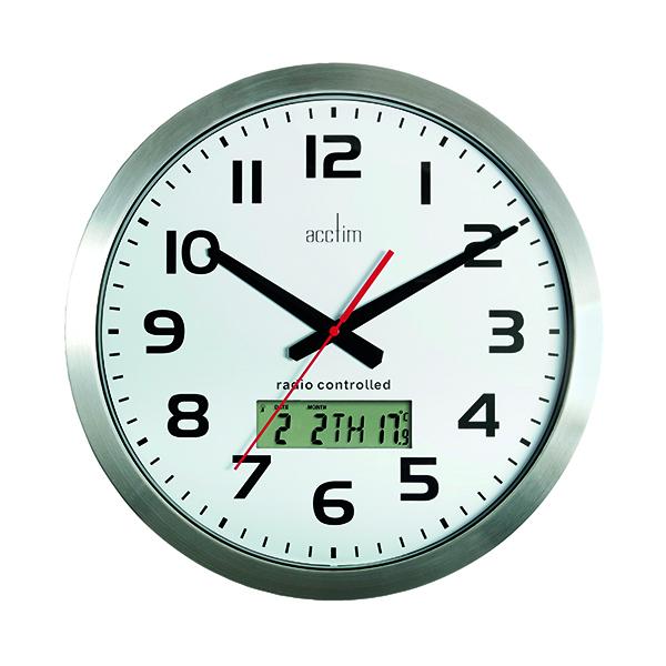 Wall Acctim Meridian Radio Controlled Wall Clock Aluminium 74447