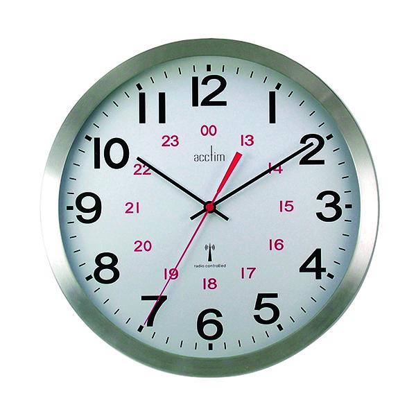 Wall Acctim Century 24 Hour Radio Controlled Clock Aluminium 74457
